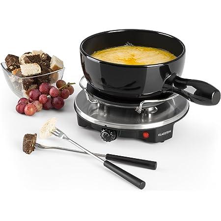 Klarstein Sirloin - Fondue au fromage, grill de table, pot en céramique émaillée, puissance 12 watts, plaque de cuisson en aluminium moulé, interrupteur thermostat, anti-dérapant, noire