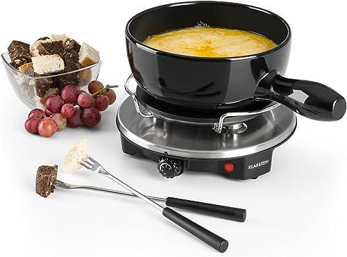 Klarstein Sirloin - Fondue au fromage, grill de table, pot en céramique émaillée, puissance 12 watts, plaque de cuiss...