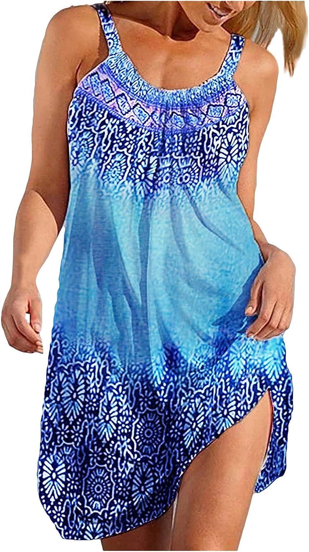 Gerichy Summer Dresses for Women Casual Beach Sundress Floral Sleeveless Bohemian Dress Loose Tank Dress Swing Dress