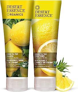 Desert Essence Lemon Tea Tree Shampoo & Conditioner Bundle - 8 Fl Ounce - Clarifying For Oily Hair - Essential Oils - Stre...