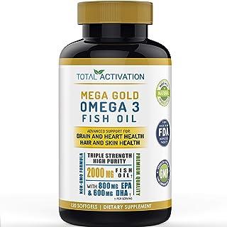 Omega 3 Fish Oil Supplement, Skin, Hair & Heart Health Support, Vitamin E & High Potency EPA DHA, Non-GMO Burpless Small L...