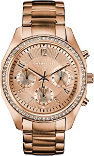 Caravelle Designed by Bulova Women's Quartz Watch with Stainless-Steel Strap, Rose Gold, 18 (Model: 44L240)