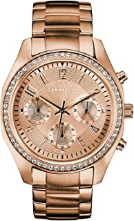 Caravelle Women's Quartz Watch with Stainless-Steel Strap, Rose Gold, 18 (Model: 44L240)