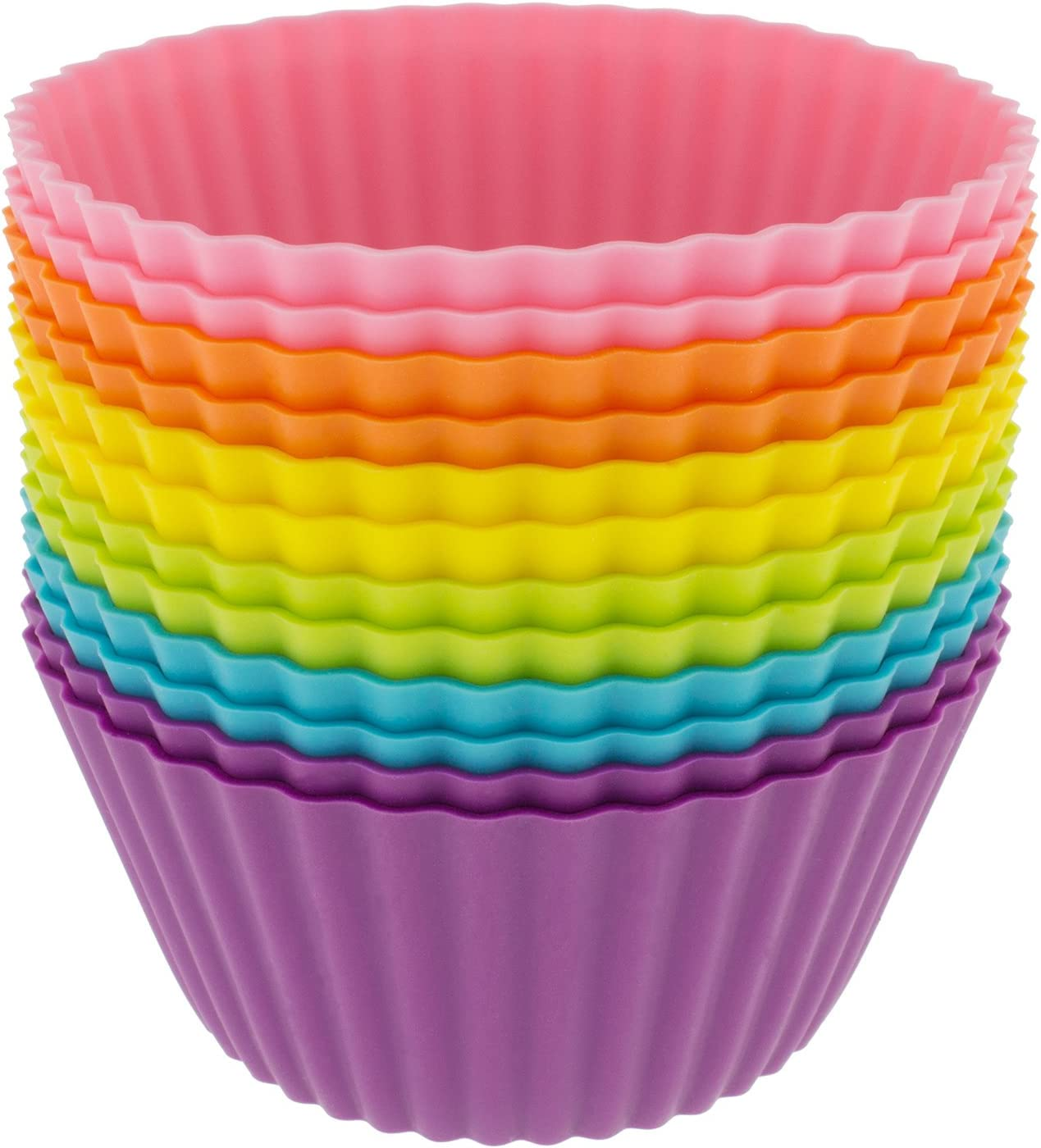 Freshware Silicone Baking Cups 24 Pack Reusable Cupcake Liners Non Stick Muffin Cups Cake Molds Cupcake Holder In 6 Rainbow Colors Standard Round Kitchen Dining