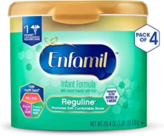 Enfamil Reguline Constipation Baby Formula Milk Powder to Promote Soft Stools, Omega 3, Probiotics, Iron, Immune Support, 20.4 Ounce, Pack of 4