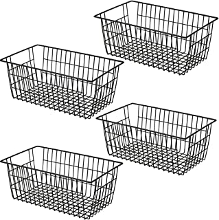 SANNO Freezer Basket Organizer, Refrigerator Metal Wire Storage Divider, Household Container Bins with Handles for Kitche...