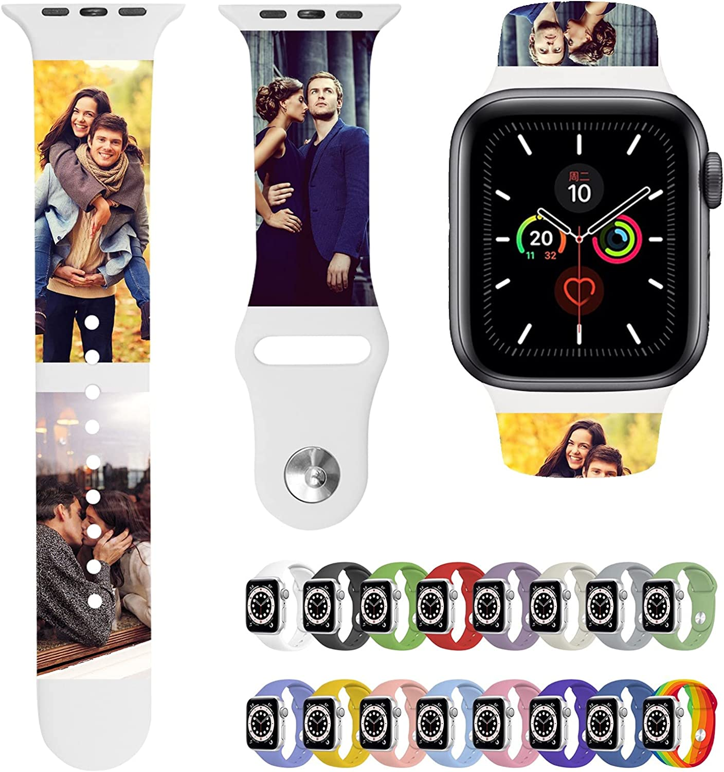 Custom Bands Compatible with Apple Watch for Women Personalized Soft Silicone Sport Replacement Wrist Bands Strap with Name/Photo 38/40/42/44mm