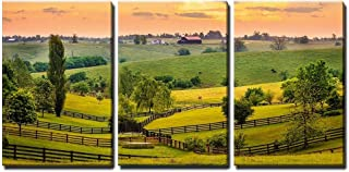 wall26 - 3 Piece Canvas Wall Art - Evening Scene in Kentucky - Modern Home Decor Stretched and Framed Ready to Hang - 16