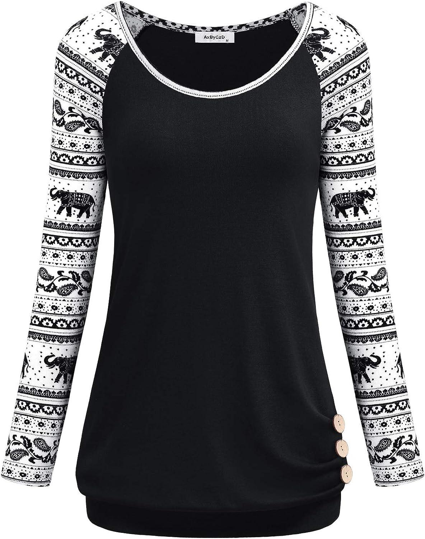 AxByCzD Womens Long Raglan Sleeve Round Neck Elephant Printed Button Sweatshirts Tunic Blouses Tops