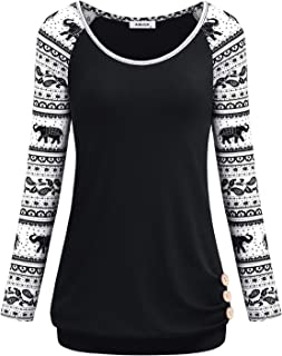 AxByCzD Women's Long Raglan Sleeve Round Neck Elephant Printed Button Sweatshirts Tunic Blouses Tops