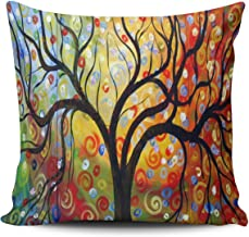 KEIBIKE Personalized Love Tree Color Rainbow Candys Wave Polka Dot Cute Adorable Square European Decorative Pillowcases Design Zippered Throw Pillow Covers Cases 26x26 Inches One Sided