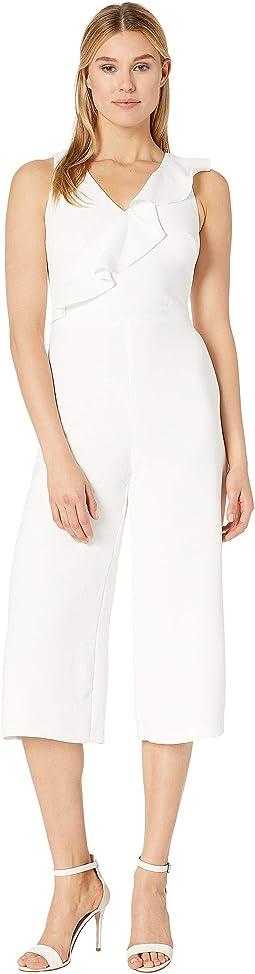 Gauzy Crepe Asymmetrical Ruffle Jumpsuit