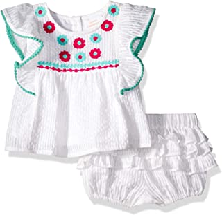 Masala Baby Baby Girls Wave Ruffle 2 pc Set Metallic Stripe