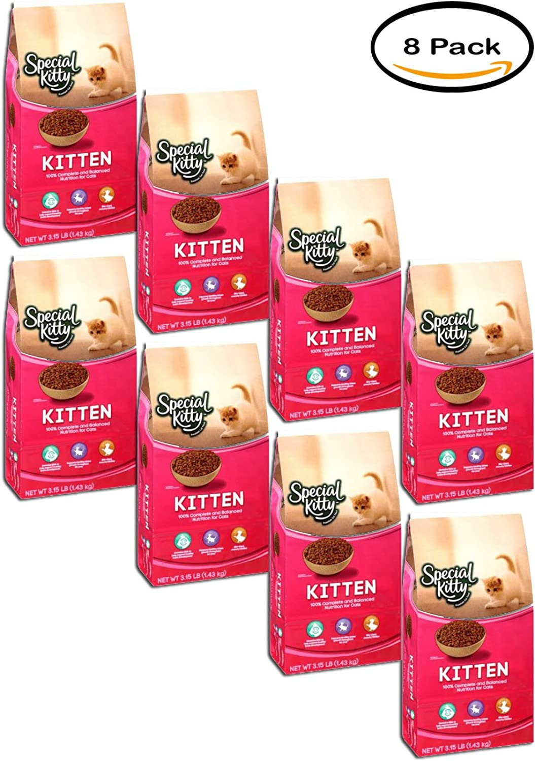 PACK OF 8  Special Kitty Kitten Formula Dry Cat Food, 3.5 Lb