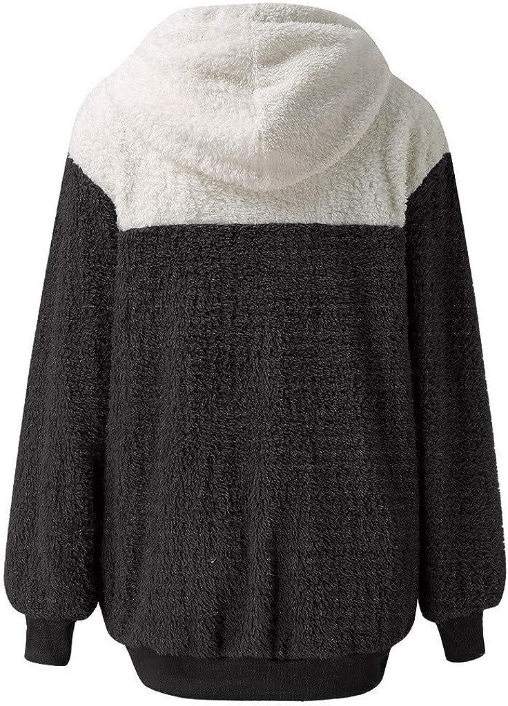 ESAILQ Kleider Frauen Winter Woll Sweatshirt Reißverschluss Kapuzenmantel Patchwork Warme Taschen Baumwolle Outwear C-schwarz