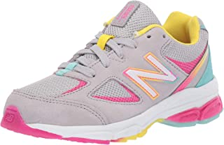 New Balance Girls' 888v2 Running Shoe, Grey/Rainbow, 2 XW US Little Kid