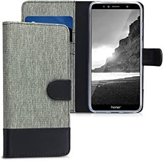 kwmobile Wallet Case for Huawei Honor 7A - Fabric and PU Leather Flip Cover with Card Slots and Stand - Grey/Black Grey 44827.01