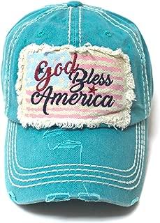 July 4 Celebratory USA Flag Patch God Bless America Embroidery Ballcap, Turquoise