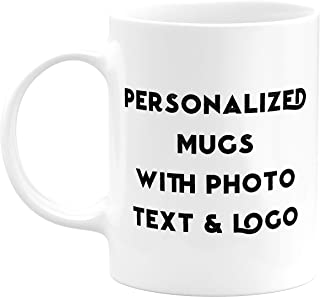 Custom Mugs Photo Gifts - Personalized Coffee Mugs - Add Photo, Picture or Logo with Text on Customized Coffee Mug - 15 Oz Customizable Mug, Funny Personalized Coffee Mug, Custom Mug (White)
