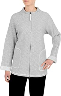 Miss Elaine Sesoire Women's Bed Jacket - Quilt Knit Zipper House Coat with Long Sleeves
