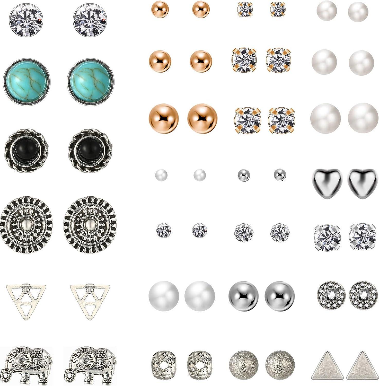 TOODOO 27 Pairs Multiple Stud Earrings Set Cute Vintage Earrings for Girls Women Men