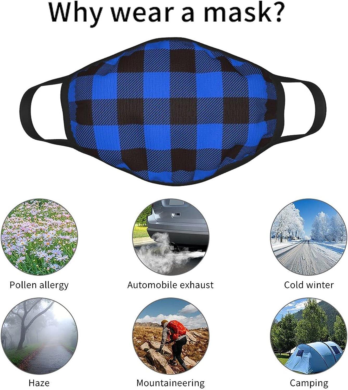 Black and Blue Buffalo Plaid Face Mask 3PCS Unisex Balaclava Comfortable Washable Reusable Fashion for Men Women