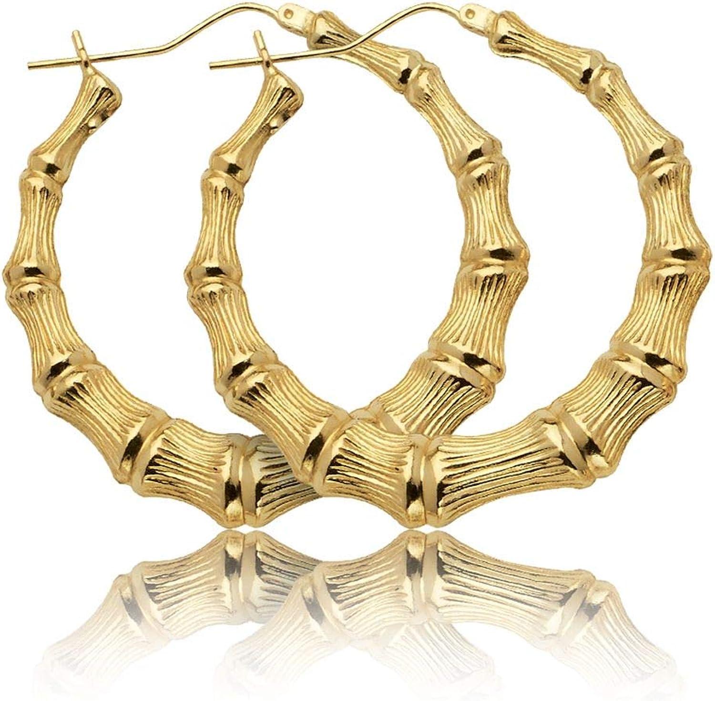 LoveBling 10k Yellow Gold Bamboo Hoop Earrings (1.60