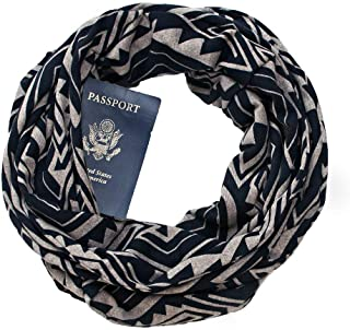 Auppova Women Scarf,Women Fashion Accessories Scarf Geometric Pattern Loop Infinity Scarf Shawl Wrap With Hidden Zipper Pocket Warm Travel Couple Scarf,Travel Scarf