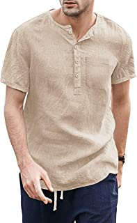COOFANDY Mens Cotton Linen Beach Shirts Long Sleeve Casual Henley Shirt