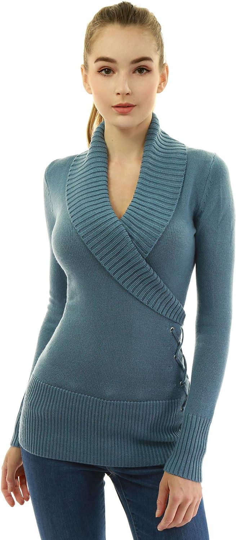 AmélieBoutik Women Shawl Collar Faux Wrap Lace Up Long Sleeve Sweater