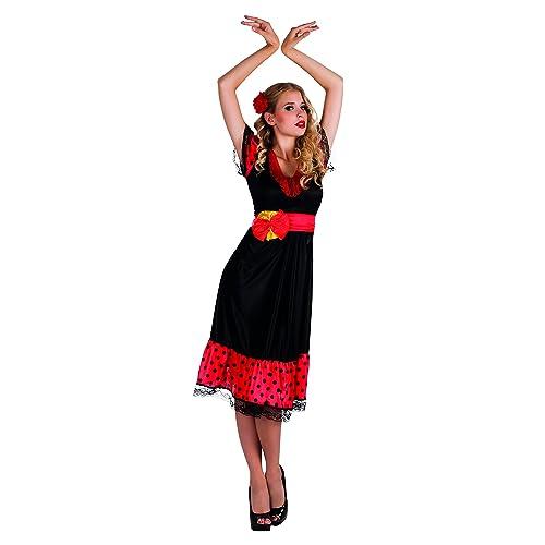 5c8aa8b6d502 Spanish Flamenco Ladies Fancy Dress Senorita Rumba Dancer Womens Costume  Outfit (Women: 12-