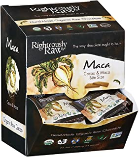 Righteously Raw Chocolate Bites - Maca Bites, RAW Organic, Vegan, Kosher, Gluten-Free, Non-GMO, Dairy & Soy Free, No refin...