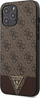 Guess GUHCP12LPU4GH 4G PU Contrast Hard Case for Apple iPhone 12 Pro Max/Protective Case for your Mobile - (Brown)