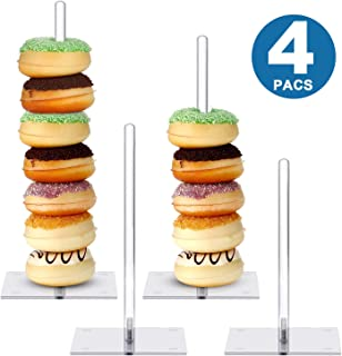 Acrylic Donut Stands Clear Bagels Holder Doughnut Dessert Stand Table for Wedding Birthday Party (4, Square Stand 1)