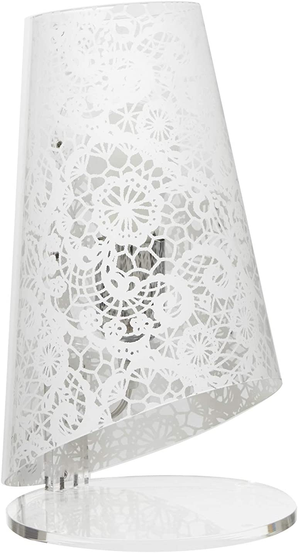 Lámpara cónica de policarbonato transparente, decorada con texturas de encaje en los colores: negro, blanco y rojo. Base y soporte de metacrilato transparente. Casquillo E27.