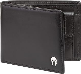 SPARTANO Portafoglio da Uomo in Vera Pelle con Protezione RFID, Portamonete, 7 Tasche per Carte di Credito, 2 x Banconote,...