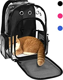 YUDODO Pet Clear Cat Backpack Carrier Breathable Foldable Pet Rucksack Carrier for Puppy Dog Cat Lightweight Cat Backpack for Outdoor Walking