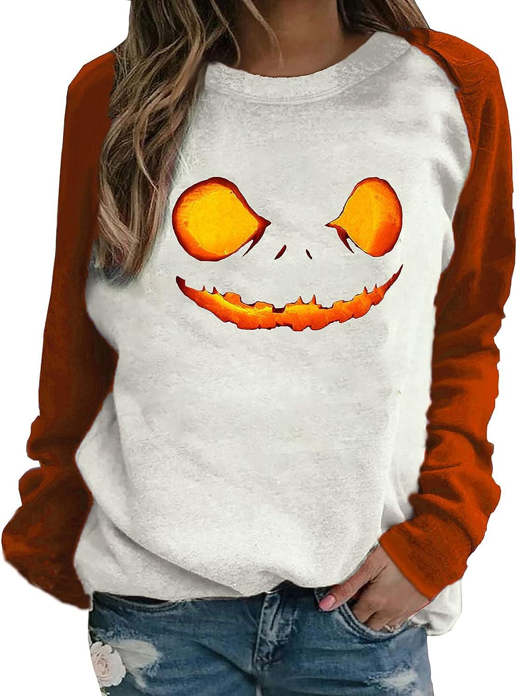 Women's Halloween Long Sleeve Sweatshirts Casual Fashion Cute Cartoon Print Tunic Loose Crewneck Pullover Tops