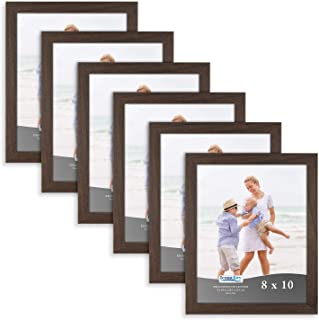 Icona Bay 8x10 Picture Frame (6 Pack, Hickory Brown), Brown Sturdy Wooden Composite Photo Frame 8 x 10, Wall or Table Mount, Set of 6 Exclusives Collection
