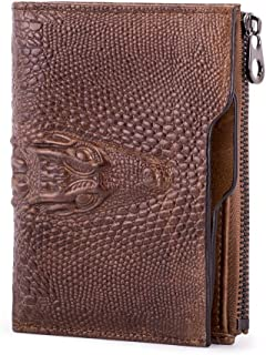 RFID Removable Card Slot Wallet Cow Leather Men Wallet Leather with Zip Pocket (Color : Brown, Size : S)
