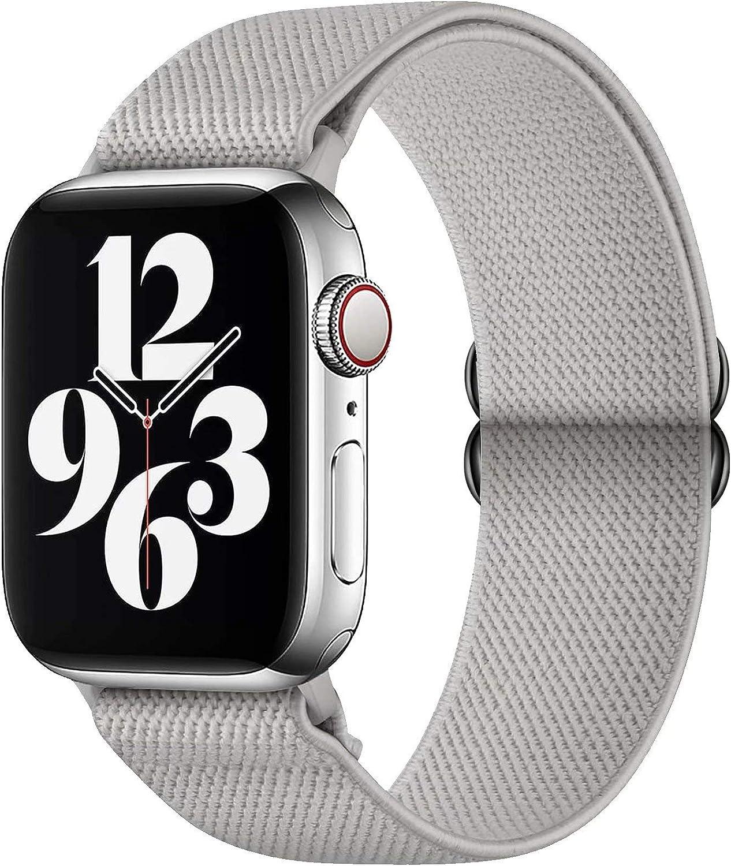 GBPOOT Correa de Compatible con Apple Watch 38mm 40mm 42mm 44mm,Correa Solo Loop Deportiva con Nylon de Repuesto Compatible Iwatch Serie 6/SE/5/4/3/2/1,Gris puro,38/40mm