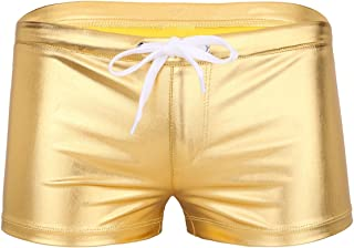 MSemis Men's Shiny Patent Leather Boxer Shorts Drawstring Lounge Underwear Clubwear