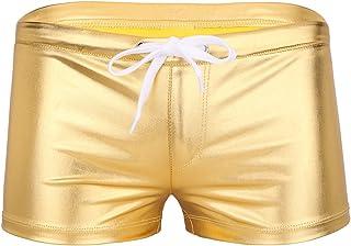 YUUMIN Men's Patent Leather Swim Trunks Shiny Metallic Wet Look Sports Beach Board Shorts Swimwear