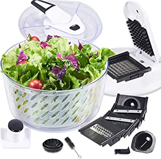 FAVIA 5.5L Onion Chopper Vegetable Chopper Cutter Grater Slicer Dicer Spiralizer 6 Interchangeable Blades with Large Salad Spinner Drainer Basket BPA Free Dishwasher Safe 6 Quart