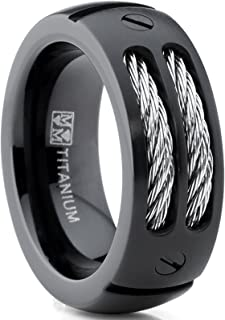 Metal Masters Co. 8MM Men's Black Titanium Ring Wedding Band with Stainless Steel Cables and Screw Design Sizes 7 to 13