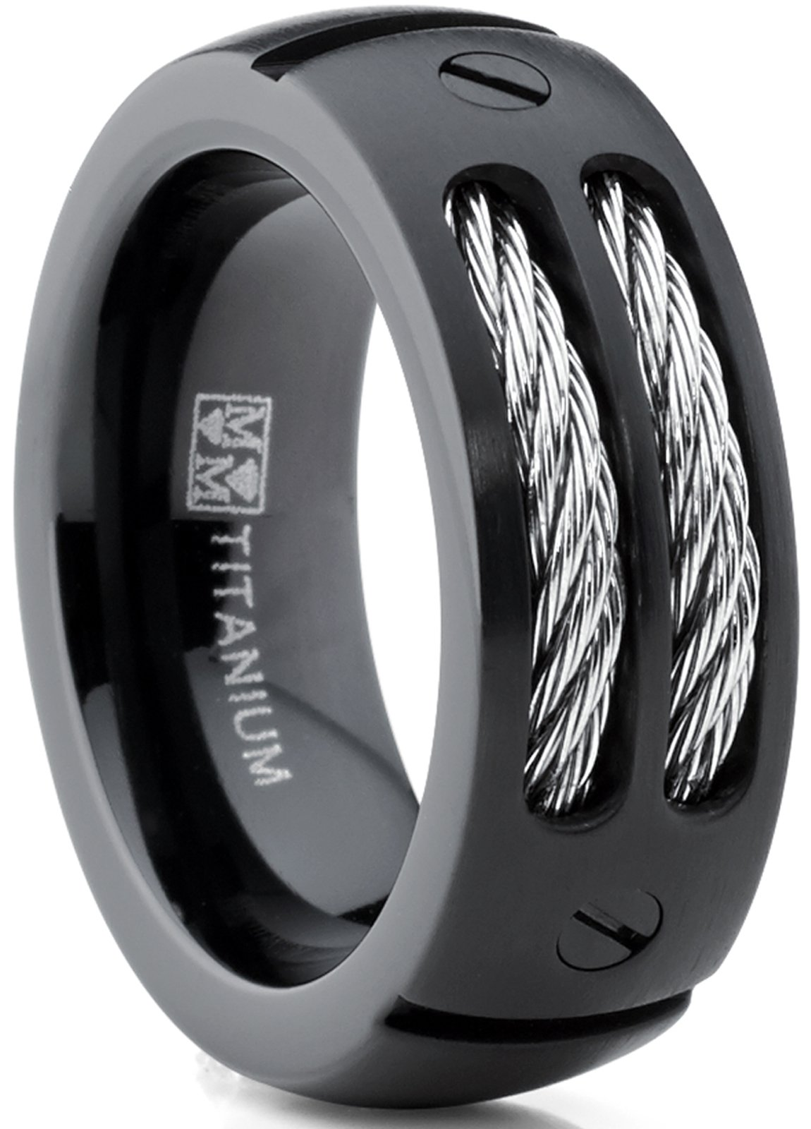 FlameReflection 8mm Men Black//Silver Titanium Wedding Band with Stainless Steel Cables and Screw Design Size 7 to 14 with Half Sizes SPJ