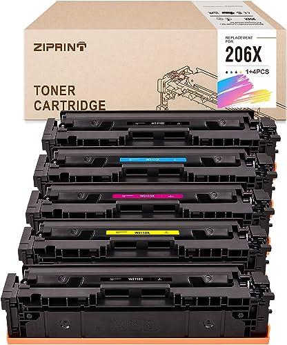 lowest ZIPRINT Compatible Toner new arrival Cartridge wholesale Replacement for HP 206X 206A W2110X for HP Color Laserjet Pro M255dw M283fdw M282nw M283cdw Toner NO CHIP(5-Pack, 2Black + 3-Color) online sale
