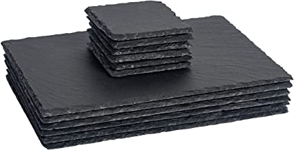 Argon Tableware Square and Rectangular Natural Slate Placemat Set - 6 Coasters & 6 Placemats