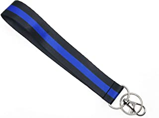 WigsPedia Thin Blue Line Thin Red Line Wrist LANYARDs Keychain for Key/ID Holder (Thin Blue Line Wristlet)