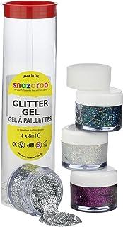 Snazaroo 1112950 kinderschmink-effect, glittergel, gezichtsverf in 4 kleuren, holografische glittermake-up, fuchsia-roze, ...